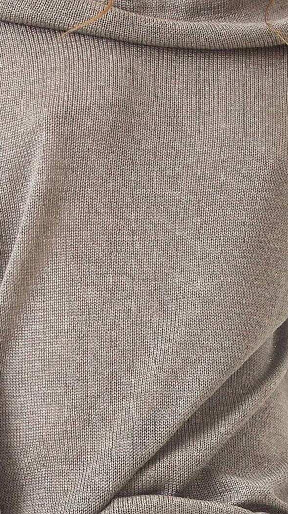Grauer Kaschmir Pullover mit drapiert Kragen für Damen AGNES