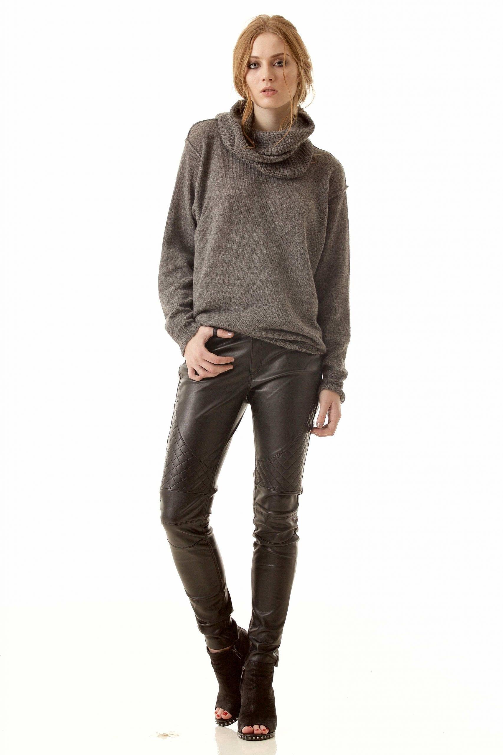 Übergröße Alpaka Pullover mit Kutte Kragen ISABELLE
