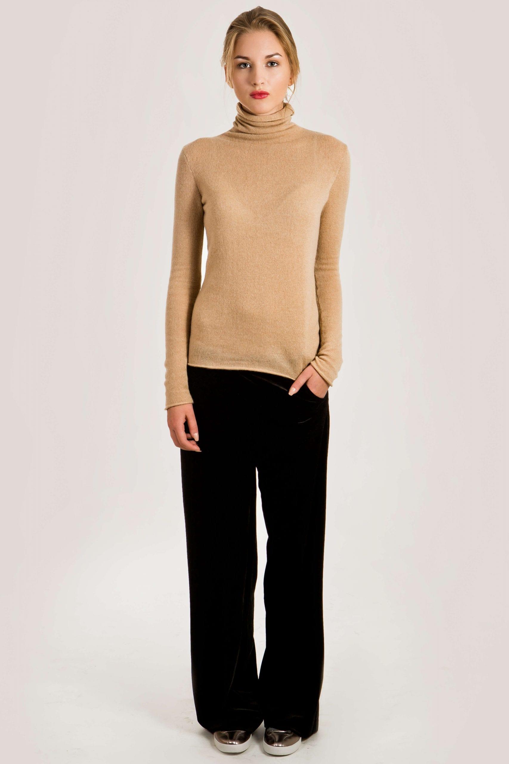 Kamel Kaschmir Rollkragen Pullover für Damen MARGO