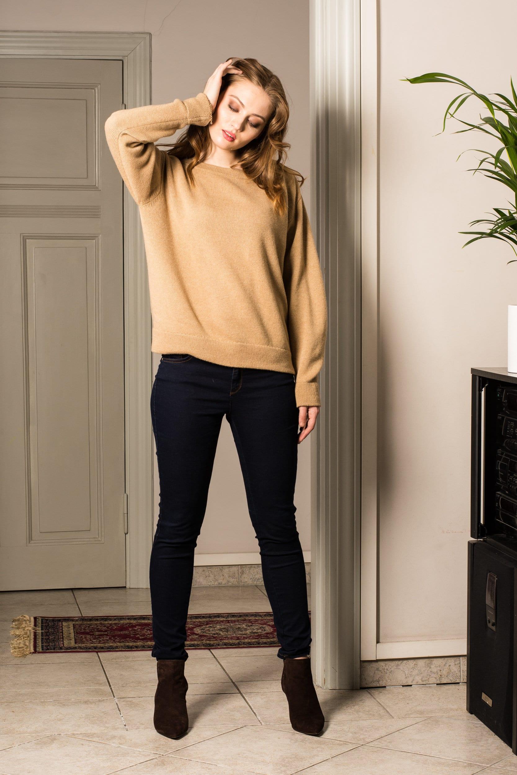 Klassischer Kamelfarbe Kaschmir Damen Frauen Pullover KAY