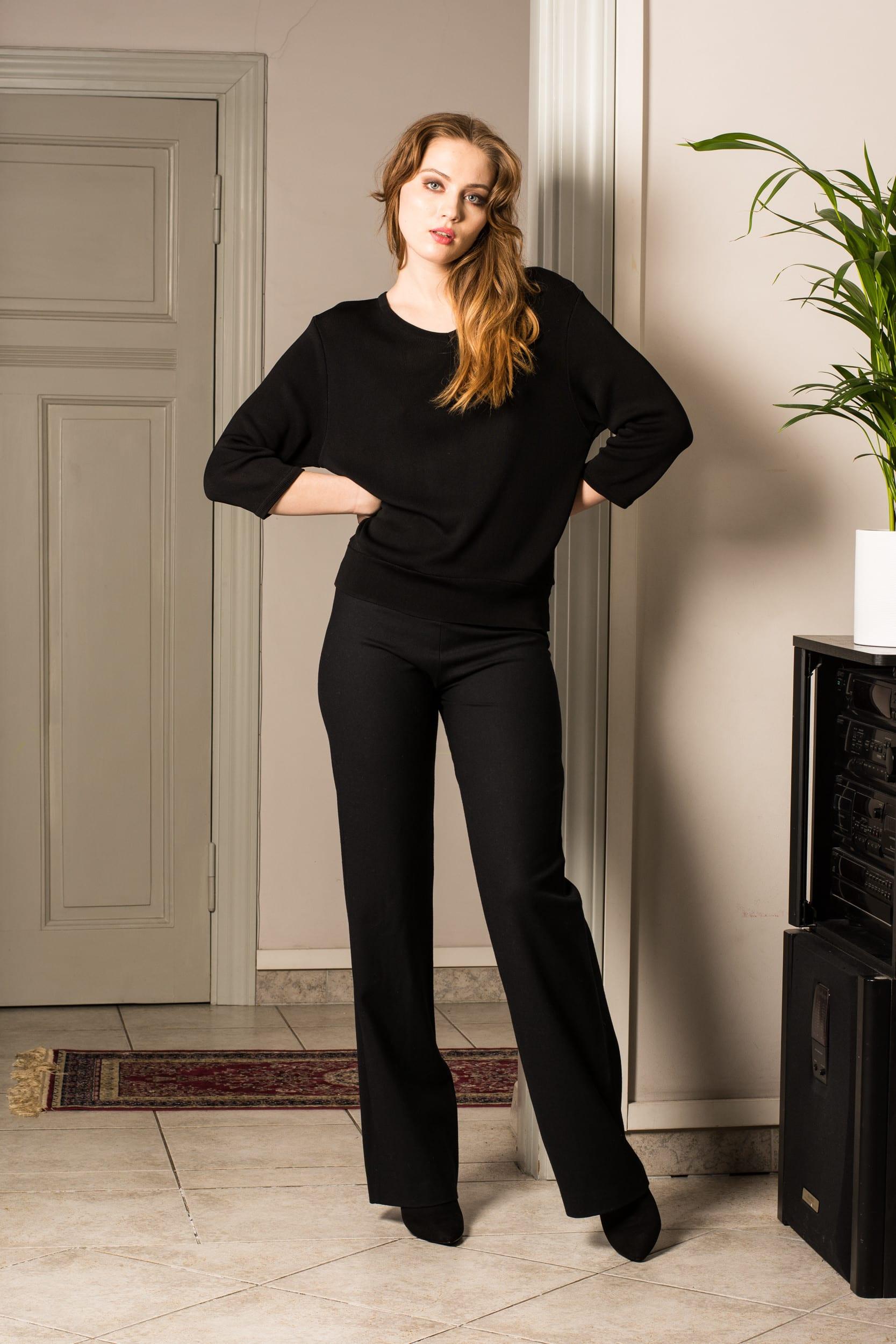 Schwarzer V-Ausschnitt 3/4 Ärmel Damen Frauen Pullover MIA