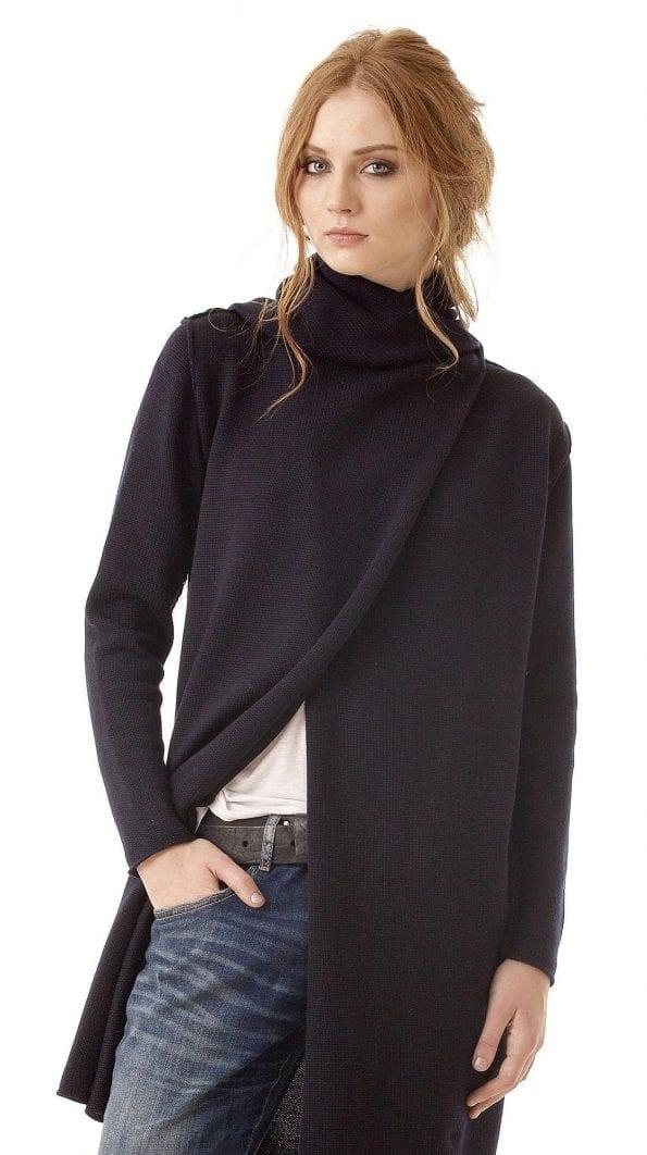 Schwarze Merinowolle Strickjacke mit Kapuze für DamenODETTE